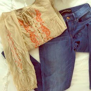Vintage America Blues  tan orange blouse small